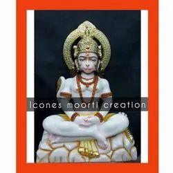 Sitting Marble Hanuman Statues