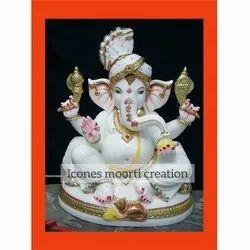 Marble Pagdi Wale Ganesh Ji Statue