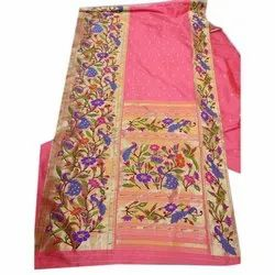 Ovi Paithani Embroidered Fancy Hand Work Silk Saree, Dry clean, 6 m (with blouse piece)