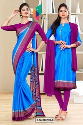 Blue Wine Premium Italian Silk Crepe Saree For Jelwellery Showroom Uniform Sarees