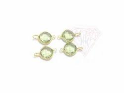 Handmade Green Amethyst Gemstone Bezel Connector