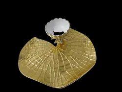 Aluminium Gold Lotus Leaf Dip Bowl Platter For Starters Snacks