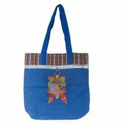 Koklass Bags Cotton Ladies Designer Ladakh Print Blue Tote Bag