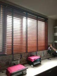 Brown Vertical Window Wooden Blinds