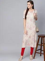 La Firangi Women Off-White & Beige Printed Straight Kurta