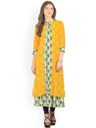 La Firangi Women Yellow Printed Layered A-Line Kurta