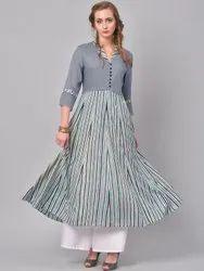 La Firangi Women Grey Striped A-line Kurta