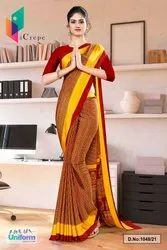 Maroon Gold Multi Color Print Premium Italian Silk Crepe Uniform Sarees For Hotel Staff 1048