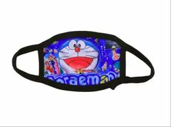 Reusable Printed Doremon Cotton Face Mask, Number of Layers: Three Layer
