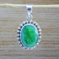 925 Sterling Silver Corundum Emerald Gemstone Pendant
