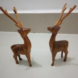 Brown Wooden Carving Deer, Size: 6 Inch