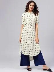 La Firangi Women Off-White & Blue Printed Straight Kurta