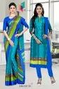 Italian Crepe Saree Salwar Combo For Uniform Purpose