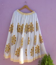 Sanganeri Women Cotton Skirts Kaliya Flower