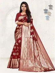 Pure Soft Silk With Weaving Indian Wear Saree
