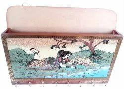 Nirmala Handicrafts Exporters Wooden Letter Holder-Key Hanger Wall Decor Showpiece