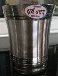 Round Suryavansham Mirror Polish with Silver Touch Stainless Steel Glass, Material Grade: 22 Gauge, Capacity: 100 Ml