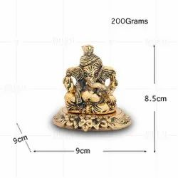 Gold Plated Pagdi Ganesh Small Plate