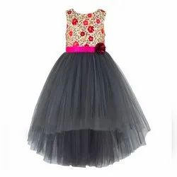 Grey Cotton Multi Embroidered Tutu High Low Girls Party Dress, Age Group: 2 To 14 Years, Size: 20 To 42