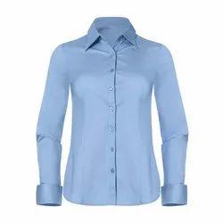 Cotton Checks Ladies Formal Full Sleeves Shirt, Size: Medium