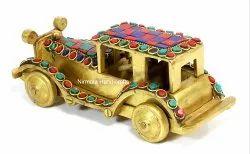 Brass Antique Car Handmade Stone Work Home/Table Decorative Showpiece