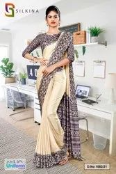 Grey And Beige Premium Simmer Uniform Sarees