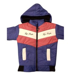 Polyester Boys Hooded Winter Jacket