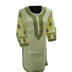 Party Wear Straight Ladies Cotton Embroidered Long Kurti, Wash Care: Handwash