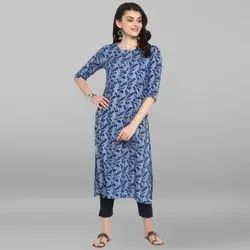 Janasya Women's Blue Pure Cotton Kurta(JNE3491)