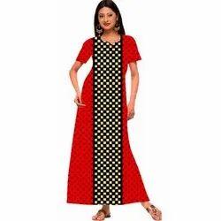 Full Length Cotton Ladies Nighties, Free Size