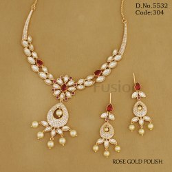 Kundan American Diamond Fusion Necklace Set