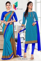 Sea Green Blue Paisley Print Premium Italian Silk Crepe Uniform Sarees for Corporate Employees
