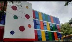 Multi color glass partition