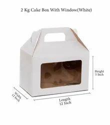 Gujarat Shopee Plain 2 Kg Cake Box With Window (White)