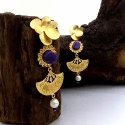 GOLD PLATED LONG EARRING