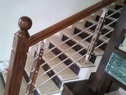 Stainless Steel Railing With Wooden Top, Mounting Type: Floor