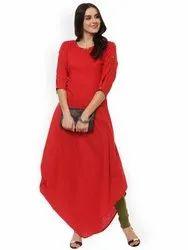 La Firangi Women Red Solid A-Line Kurta