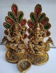 Aluminium Pan India Metal Laxmi Ganesh sitting Idol with Diya