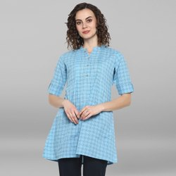 Janasya Women''s Sky Blue Weaved Cotton Top(J0044)