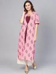 La Firangi Women Pink & Maroon Printed Layered Straight Kurta