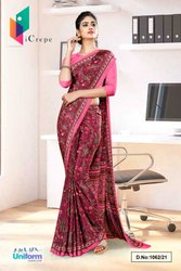 Wine Pink Paisley Print Premium Italian Silk Crepe Uniform Sarees For School Teachers 1062