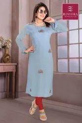 Party Wear Full Sleeve Blue Georgette Straight Kurti, Size: Medium, Wash Care: Machine wash