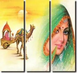Smooth Acrylic Rajasthani Wall Painting, For Home Decor, Size: 15 * 15 Inch