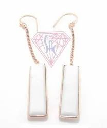 White Chalcedony Threader Earrings