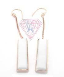 925 Sterling Silver Women White Chalcedony Threader Earrings, Packaging Type: Box
