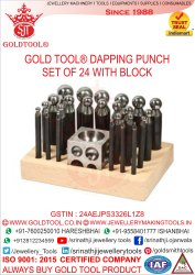 Gold Tool 24 Pieces Dapping Punch Set With Domming Block & Wooden Stand