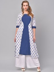 La Firangi Women Blue & White Printed A-Line Kurta