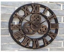 Craftkriti Brown Roman Wall Clock, For Home, Size: 30 Inch
