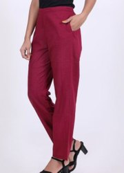 Ladies Plain Daily Wear Cotton Trouser, Size: M - XXL