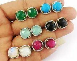 Gemstone Pave CZ Set Gemstone Stud Earring